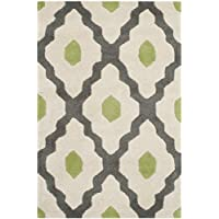 Safavieh Chatham Collection CHT748D Handmade Ivory and Dark Grey Premium Wool Area Rug (2 x 3)