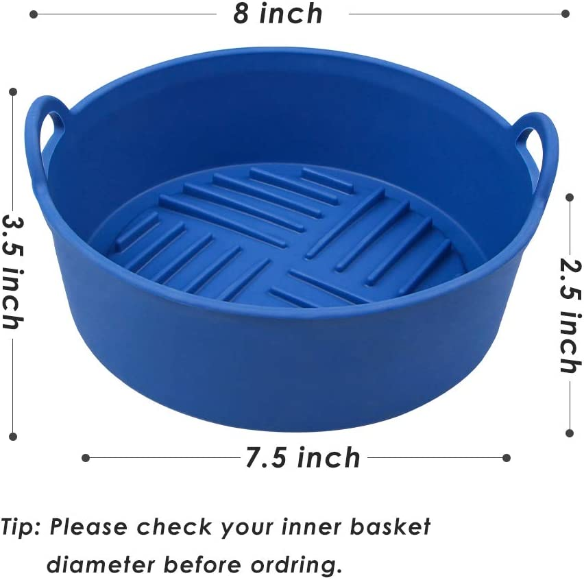 Webake Air Fryer Silicone Pot Replacement of Flammable Parchment Liner Paper 8 Inch Premier Silicone Air Fryer Oven Accessories Compatible with 4Qt Pot and Above