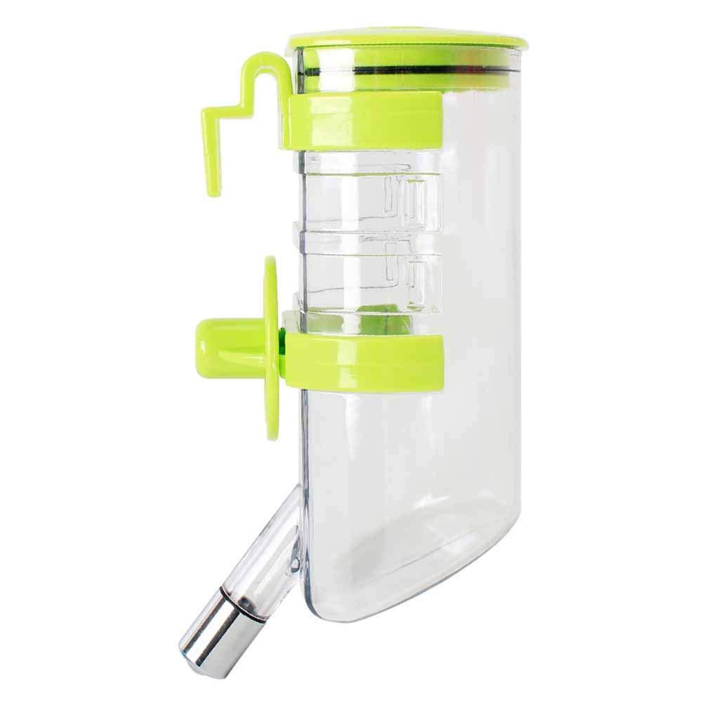 XIAOAN Pet Drinker Water Bottles Hangable Pet Drinker Drinker Dog Drinking Water Bottle 350ml,Green