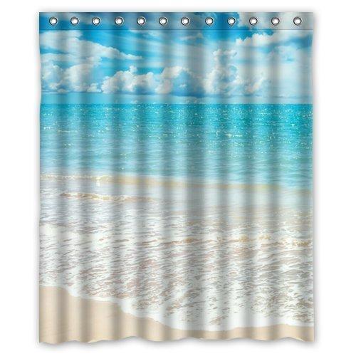 Amazon.com: Shower Curtain Beach Theme Custom Ocean Waves California ...