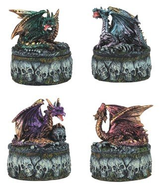Chen Mini Dragon On Skull Trinket Box 4 Pc Set Green Blue Purple Red 71477