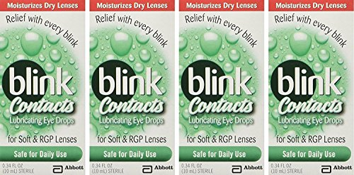 Blink Contacts Lubricant Eye Drops, 0.34 oz (Pack of 4)