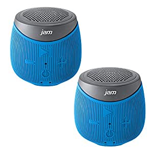 Jam Double Down Rugged Splash-Proof Bluetooth Speaker Stereo Pair of 2 Speakers in Blue