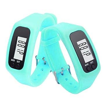 Conquro LCD Neutral podómetro Reloj Digital Paso Caminar Distancia Contador de calorías Reloj Pulsera (Azul
