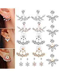 8 Pairs Fashion Silver Plated Leaf Feather Flower Crystal Ear Jacket Front and Back Stud Earrings for Women Girls...