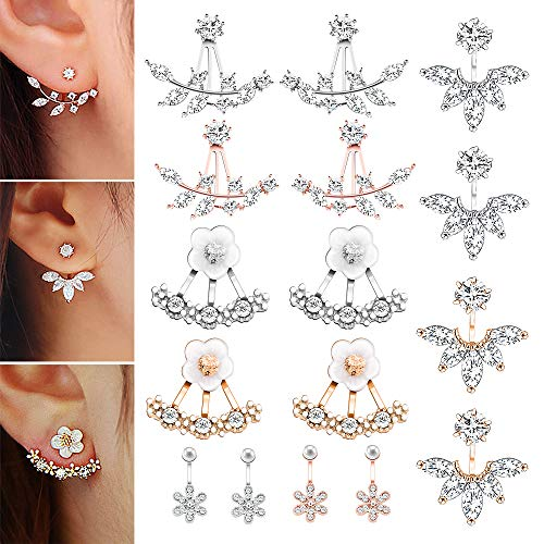 (8 Pairs Fashion Silver Plated Leaf Feather Flower Crystal Ear Jacket Front and Back Stud Earrings for Women Girls Set)