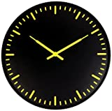 Kikkerland Swiss Station Ultra Flat Wall Clock, Black