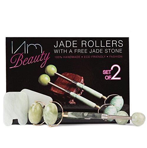 IAMBEAUTY 2 Jade Roller Massagers & Gua Sha Stone Board Scraping Face Tool Anti-Aging Natural Skincare Set for Face, Neck, Eyes & Body - Rejuvenating, Slimming, Massage Therapy Facial Kit