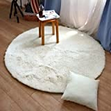 Super Soft Shaggy Rugs Round Area Rugs Modern Shag Cream Rug Living Room Area Rug Bedroom Rug Disposable Rugs Solid Home Decorator Floor Rug and Mats Can Not Wash
