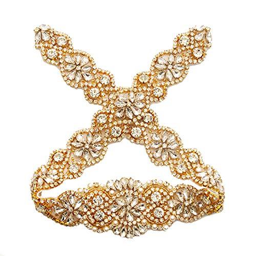 Yanstar Wedding Bridal Pearls Rhinestones Appliques For Bridal Sash Gold Crystal ()