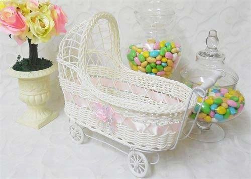11 1/2'' Wicker Baby Girl Carriage - Baby Shower Centerpi...