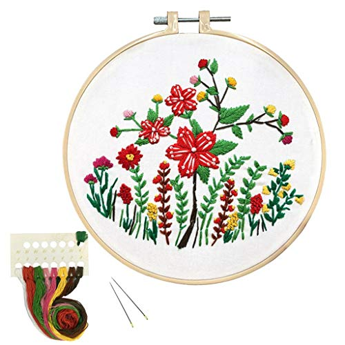 Louise Maelys Full Range of Embroidery Starter Kit with Pattern Flower Stamped Cross Stitch Kit for Beginner DIY Art Craft Embroidery Kit