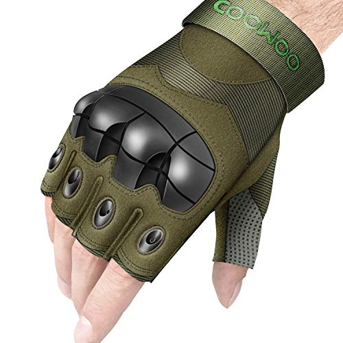 UP UPKJ Tactical Gloves, Fingerless/Half Finger Tactical Gloves Shooting Military Combat Gloves Hard Knuckle Fit Cycling Airsoft Paintball Motorcycle Hiking Camping(Army Green, Size XL)