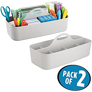 mDesign Office Supplies Desk Organizer Tote for Scissors, Pens, Pencils, Notepads, Markers, Highlighters, Tape - Pack of 2, Large, Light Gray