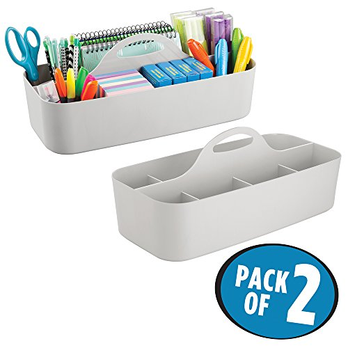 mDesign Large Office Caddy Storage Container & Organizer Tote with built-in Handle for Gel Pens, Pencils, Markers, Erasers, Staplers - Pack of 2, Light Gray