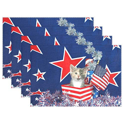 Independence Day 4Th Of July Liberty Cat Placemat Set of 6 Table Mat,American Memorial Day Patriotic Red Star Stripe Table Mats Placemats Non Slip Stain Heat Resistant 12x18 IN for Dining Home Kitchen