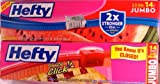 Hefty Jumbo 2.5 Gallon Slider Bags, (2 Boxes - 14 Bags each - Total 28 Bags)