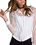 LAMEZI LANISEN Women's Sexy Long Sleeve Floral Lace See Through Bomber Jacket Short Coat White M