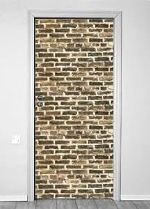 Etiqueta Papel pintado para puerta puerta puerta de pantalla Puerta Pantalla pared pantalla piedra ladrillo ladrillos 90x 200