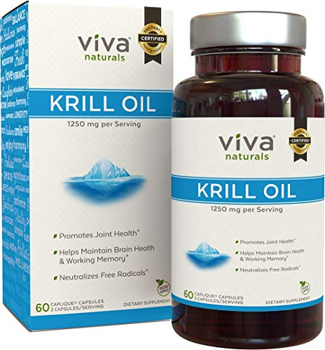 Viva Naturals Premium Antarctic Krill Oil - Omega 3 Supplement with EPA, DHA and Astaxanthin, 1250 mg/Serving, 60 Capsules