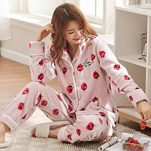 Service Pajamas Winter 47 L158 Sweet Home 164cm Students Velvet 57kg Coral Flannel Thick Female Warm Suit Pajamasx PwAqUA