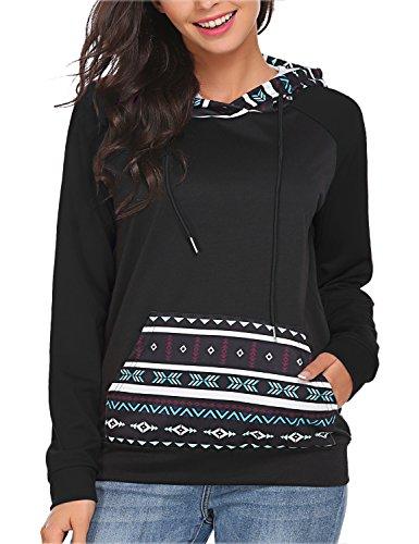 Fashion Women Long sleeve Hoodie Sweatshirt Jumper Sweater Pullover Tops Coat (M, Black)