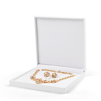 Oirlv White Velvet Jewelry Set Gift Box Ring Earring Big Necklace Storage Case