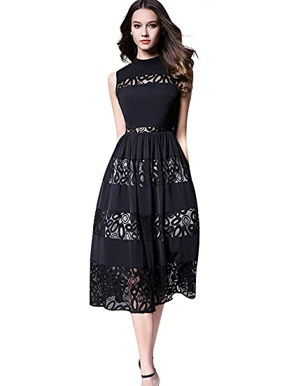 2fde7458d02e6 Image Unavailable. Image not available for. Color: Metisu Women's Sleeveless  High Neck Hollow Out Lace Panel Midi Dress-Black ...