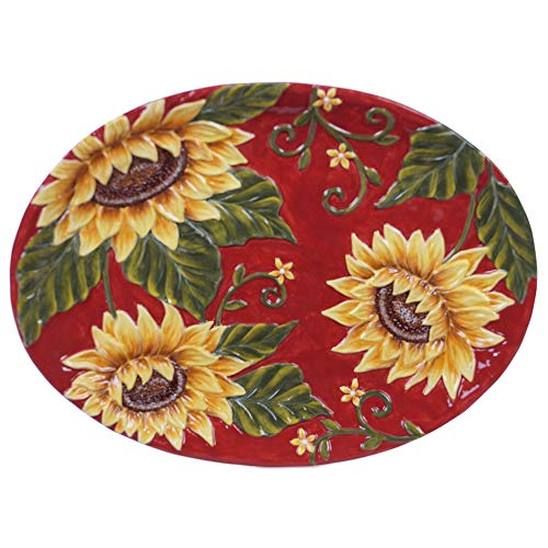 Certified International Sunset Sunflower Oval Platter 16