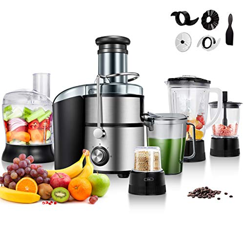 Costway 5-in-1 Food Processer, Smoothie Blender, Wide Mouth Stainless Steel Centrifugal Juice Extractor 2-Speed for Fruits and Vegetable with Blender, Chopper Grinder, Meat Grinder
