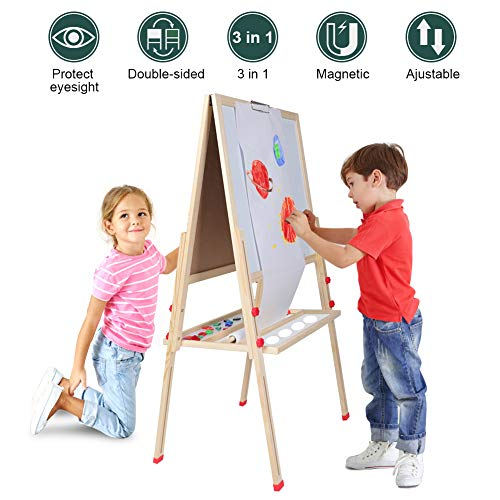 (Kids Easel for Two 3 in 1 Children Easel, Children's Paint and Drawing Artist Easel, Height Adjustable Double Sided Easel and Accessories )