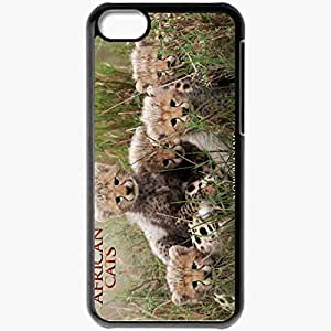 Personalized iPhone 5C Cell phone Case/Cover Skin African cats leopard africa grass Movies Black