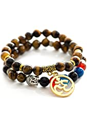 Tiger Eye Om Buddha Bracelets for Mens & Women Includes Flax Pouch and Lucky Red Kabbalah String