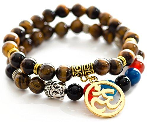 Gems of Peace - Tiger Eye Beaded Om Buddha Yoga Me…