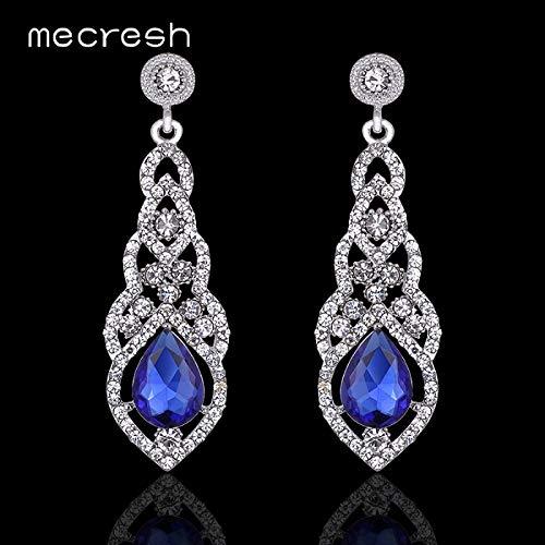 Best Quality - Drop Earrings - Mecresh Crystal Wedding Long Earrings for Women Rhinestone Simple Korean Bridal Party Prom Earrings 2018 Christmas Jewelry EH444 - by Olwen Shop - 1 PCs