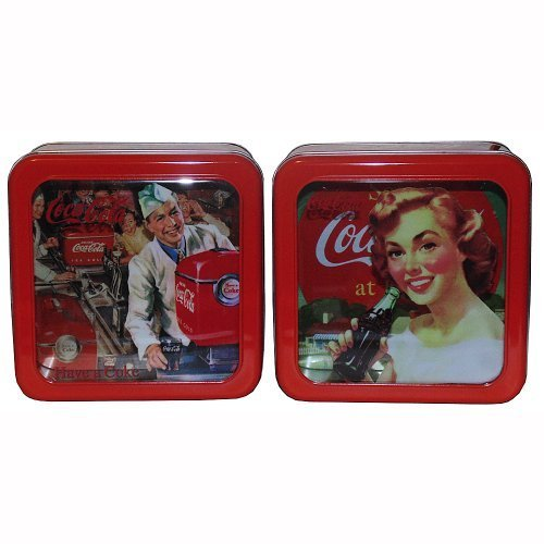 (Retro Coca-Cola Galvanized Tin Box with Window Pair by Tin)