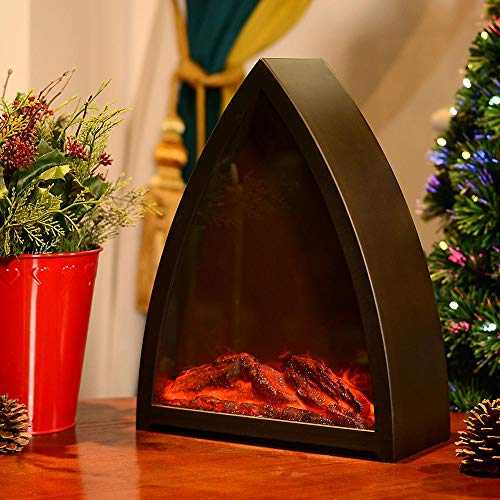 HN HAIINAA Flameless Lantern Realistic Fireplace Light, 3D Simulation Flame with Trilateral Black Plastic Case, 3C Battery Powered 6 LED Artificial Light with Sitting Decoration for Indoor/Outdoor Use (Lanterns Fireplace)