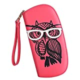 Women's Designer Lovely Glasses Owl Purse Cute Leather Long Wallet Ladies' Fashion Clutch Card & Id Holders
