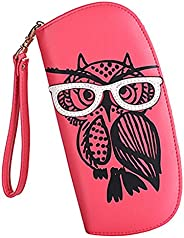 Women's Designer Lovely Glasses Owl Purse Cute Leather Long Wallet Ladies' Fashion Clutch Card &