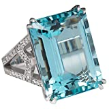 Alamana Square Faux Topaz Women Finger Ring Wedding Bridal Jewelry Blue US 6
