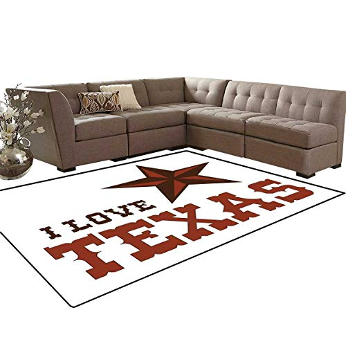 (Texas Star Room Home Bedroom Carpet Floor Mat Western Culture Motifs with a Quote About Southwest of United States Door Mats Area Rug 6'6