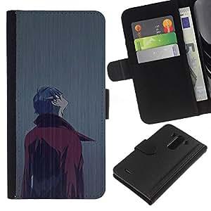 KLONGSHOP // Tirón de la caja Cartera de cuero con ranuras para tarjetas - Capa del hombre lluvia historieta cómica de Arte de caracteres - LG G3 //