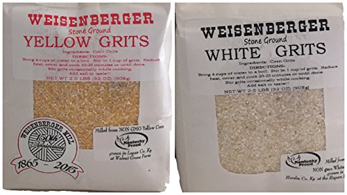 Shrimp Ground (Weisenberger Mills Southern 1-2lb Yellow Grits and 1-2lb White Grits Non Gmo - A Ky Proud Product 2lb ea Pkg 2 Packs)