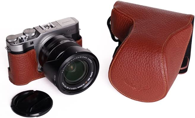 X-A3 Case Brown BolinUS Handmade Genuine Real Leather Full Camera Case Bag Cover for Fuji Fujifilm X-A3 XA3 6-50//18-55mm lens Bottom Opening Version