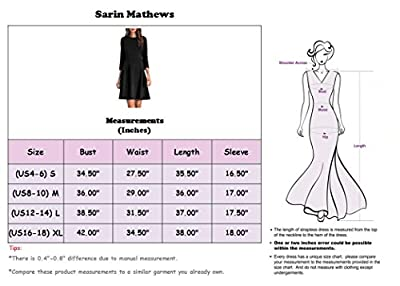 Sarin Mathews Womens 3/4 Sleeve A-line Casual Dresses Knit Fit and Flare Dress