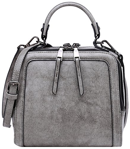 BOYATU Leather Handbag for Women Mini Shoulder Purse Evening Bag Top Handle (Grey) Grey