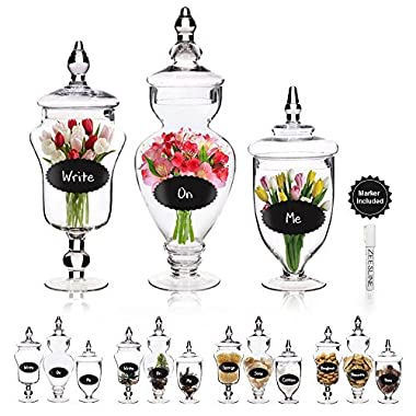 """12/15/16"""" Apothecary Clear Glass Decorative Buffet Jars- 3 Pack Centerpiece Display With Lids, Adhesive Chalkboard Labels & Chalk Marker"""