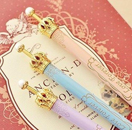 (ONOR-Tech Set of 6 Lovely Cute Adorable Crown Design Ballpoint Pen Ball Pen for School, Office, Family use)