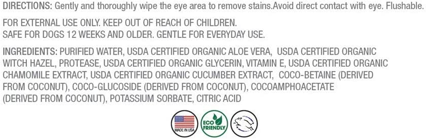 Tear Stain Removing Under Eye Wipes 50 Wipes PN229 Pure and Natural Pet
