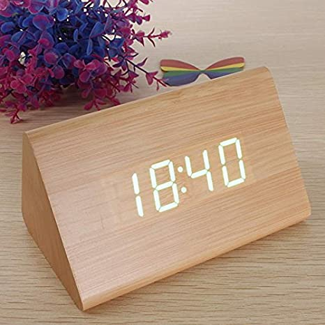 EsportsMJJ Triangular De Madera Led Despertador Reloj Termómetro Digital De Madera-Marrón + Verde: Amazon.es: Hogar